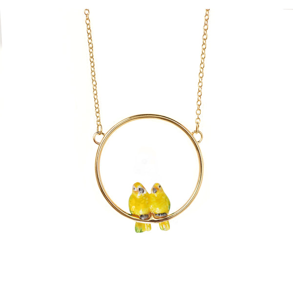 Lovebirds Mini Round Necklace