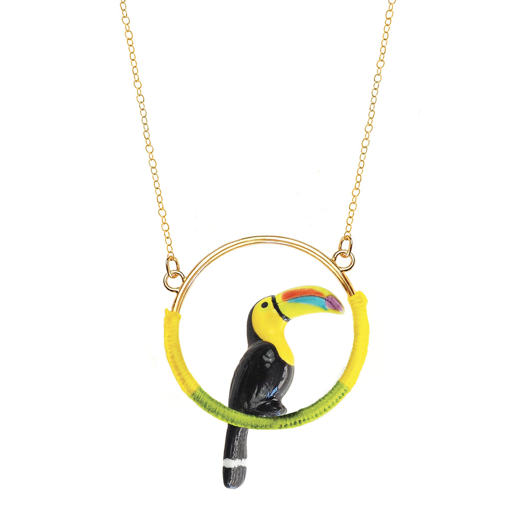 Toucan mini round necklace