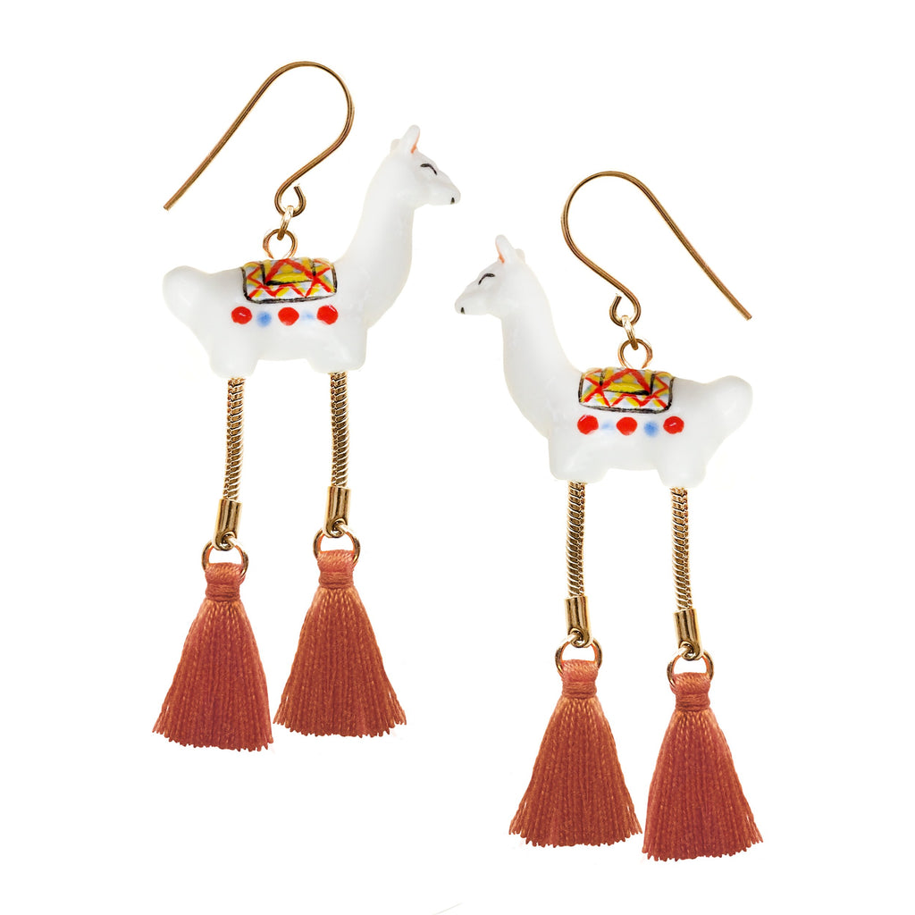 White Lama with Pompom Earrings