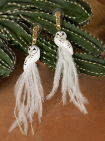 White Owl with Feathers earrings