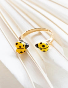 Yellow Ladybug face to face ring