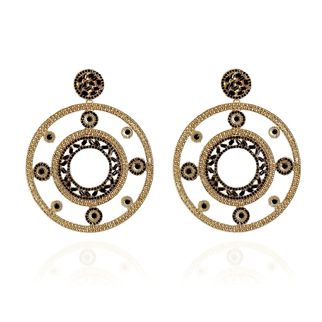 Jaïna Black and Gold Earrings Large