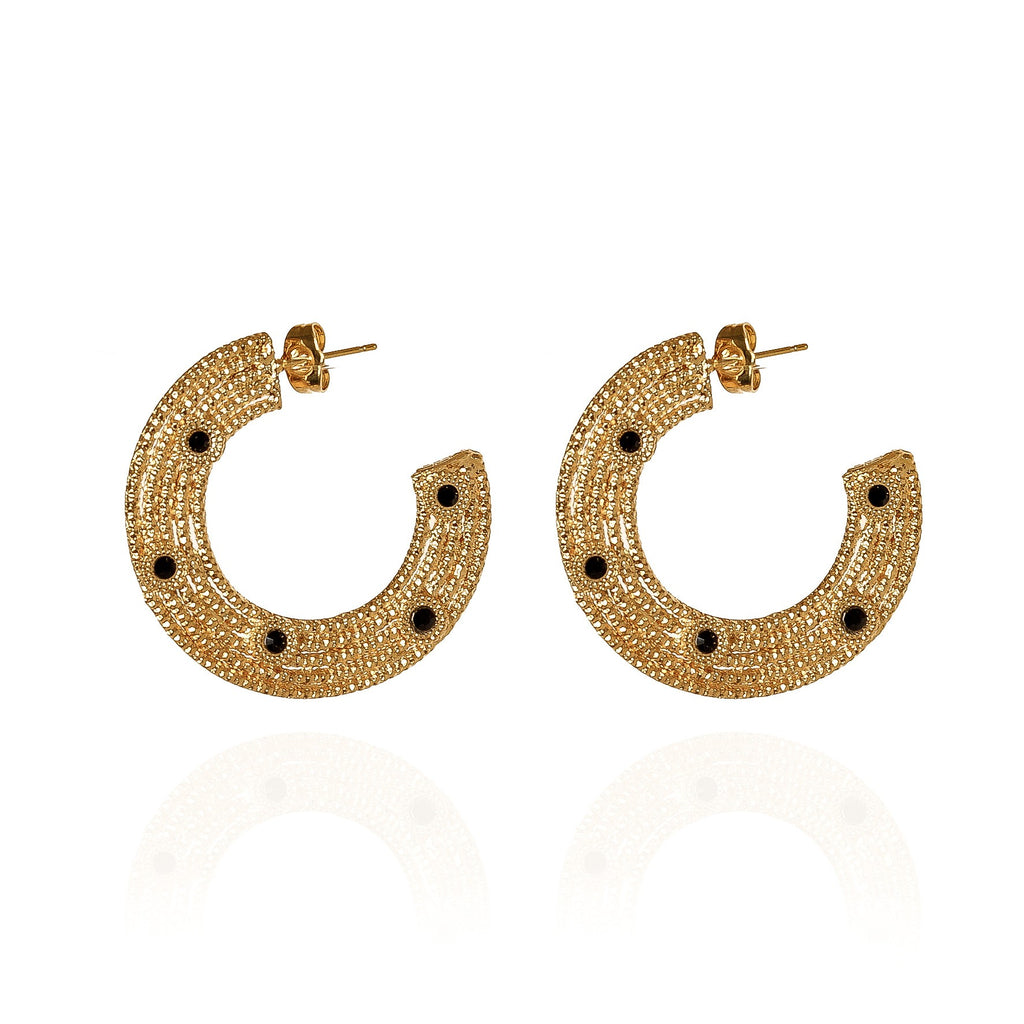Jaïna Black and Gold Hoops