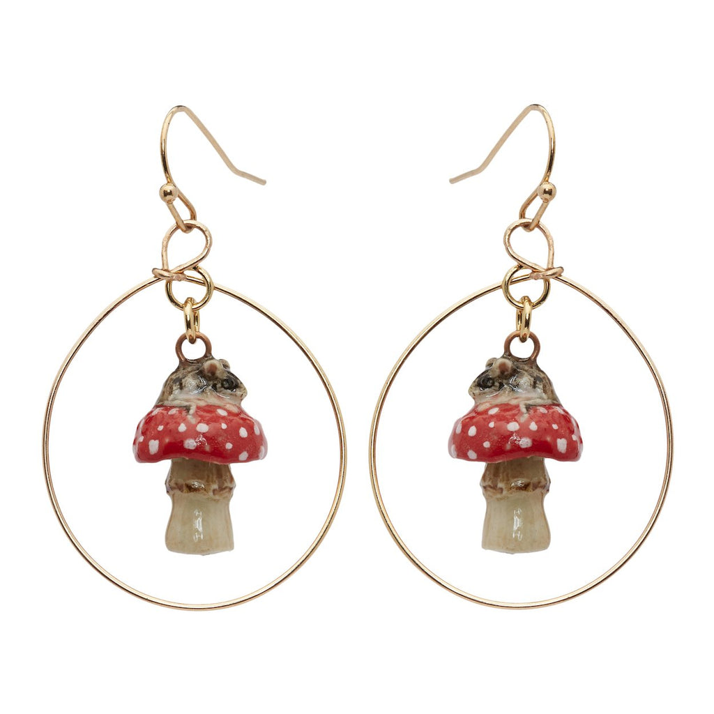 Mouse on Mushroom Hoop Drop Earrings