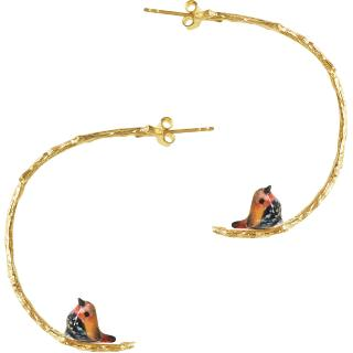 Pink Throated Bird Branch Earrings