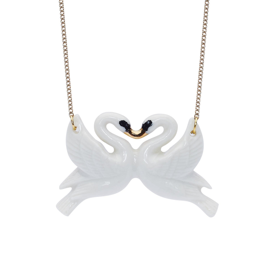 Kissing swans necklace in white porcelain with gold beak detail