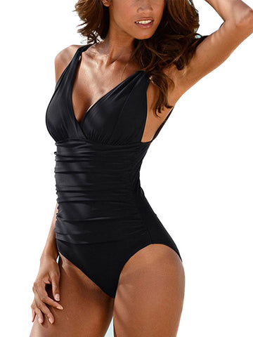 V-Neck Ruched One Piece Swimsuit