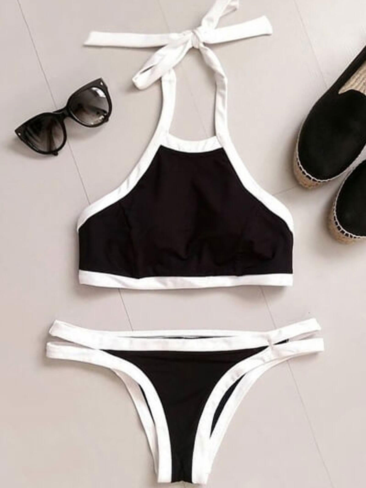 Halter Contrast Trim Ladder Bikini Set