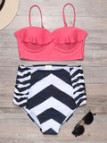 Ruffle Push Up Striped High Waist Bikini Set