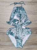 Leaf Print Halter Cut Out Monokini