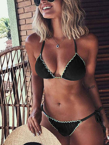 Ruffles  Velvet Tie Side Bottom Bikini Set