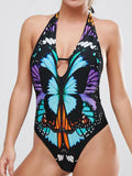 Halter Padded Butterfly Printing Backless One Piece Swimwear