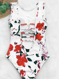 O Neck Tank Print Backless Hollow One Piece Swimwear