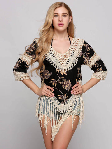 Floral 3/4 Sleeves Cut-out Cover-Ups