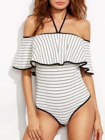 Halter Stripes Ruffles Off the Shoulder One Piece Swimsuit