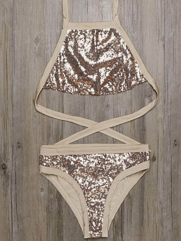 Halter Bandage Backless Sequins Bikini Set