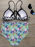 Blue Floral High Waist Bikini Set