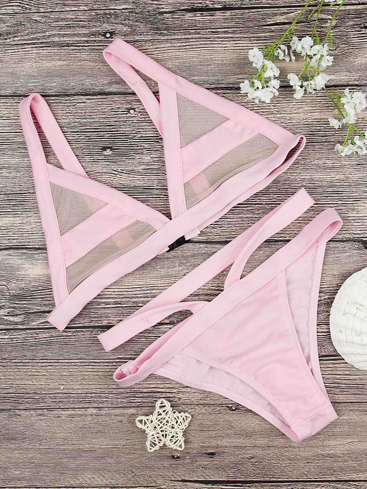 Sexy Sheer Triangle Cup Two Pieces Bikini Set