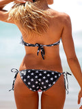 American Flag Print Top and Striped Brief Bikini Set