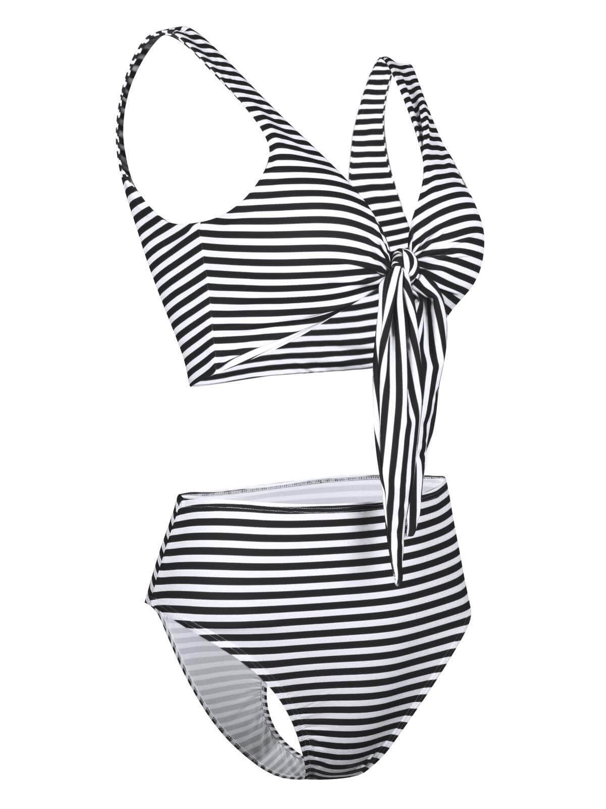 Two Pieces Striped Front Bow Bikini Set