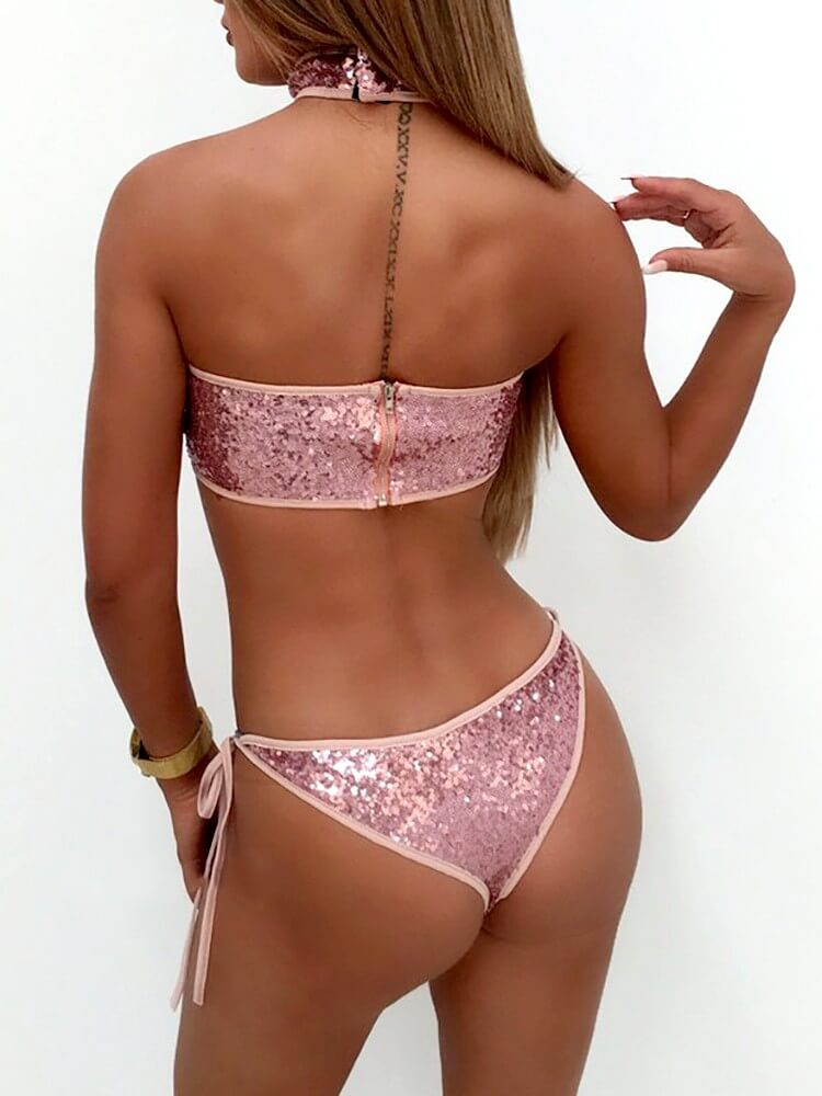Sequins Choker Strapless Back Zip Side Tie Bikini Set