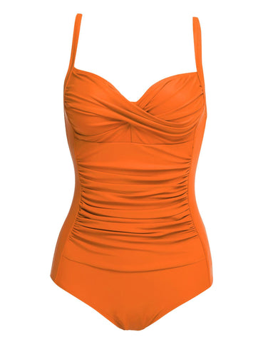 Solid Strap Ruched One Piece Swimsuits