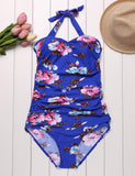 Plus Size Halter Floral Folding Ruched One Piece Swimsuit