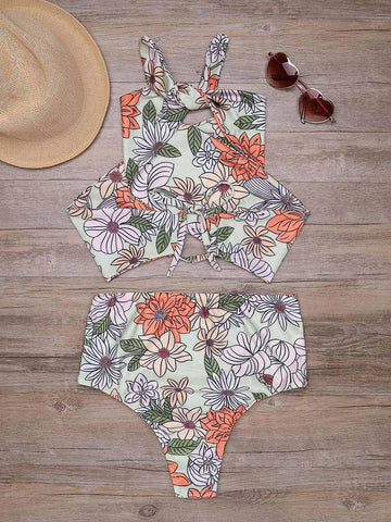 Halter Backless Printed High Waist Bikini Set