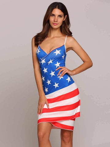 American Flag Printed Sleeveless Cover-Ups