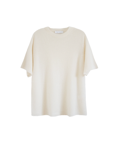 Signature cloud weight cashmere silk tee shirt in snow white