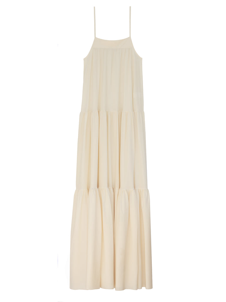 Light weight and super stretch jersey ruffled tank dress in navajo white