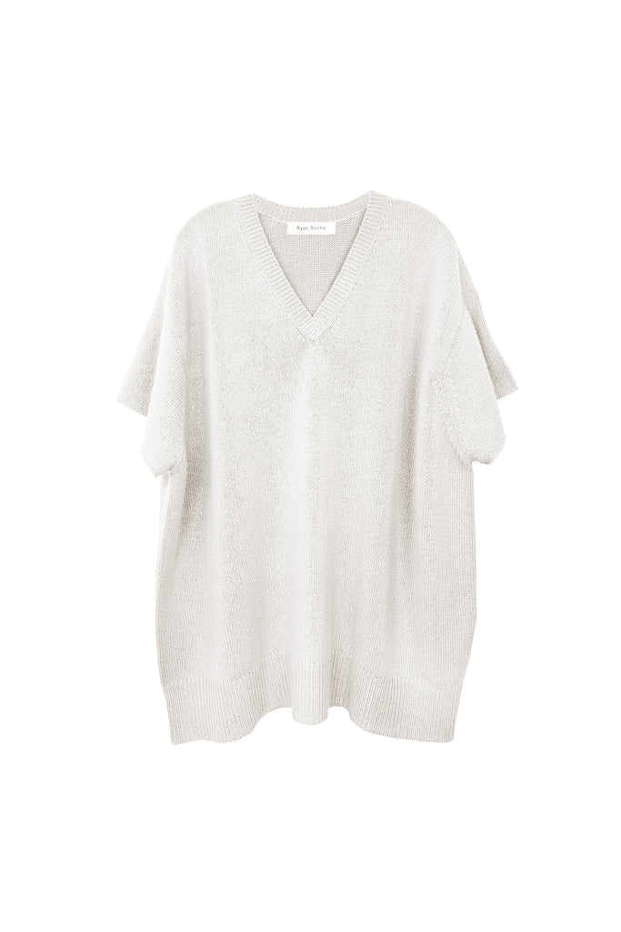 Oversized heavy gauge cashmere T-shirt in ivory