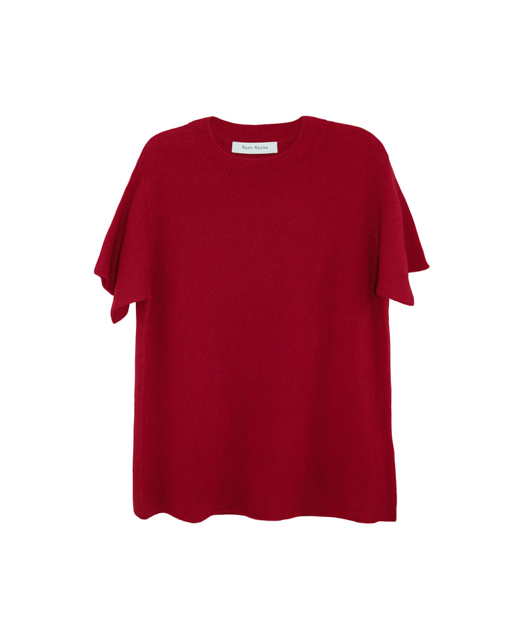 Gorgeous airy cloud like cashmere silk knit crew neck teeshirt in vibrant red