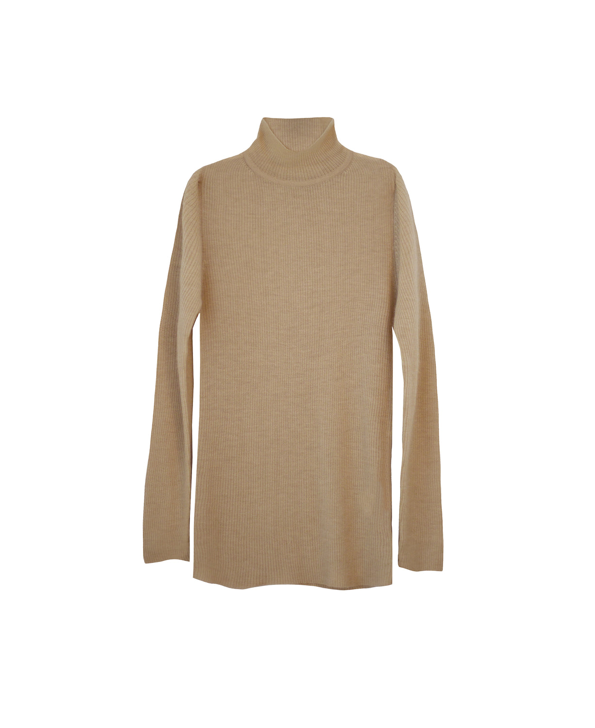 Absolute softest feather weight, fine rib cashmere turtleneck in latte