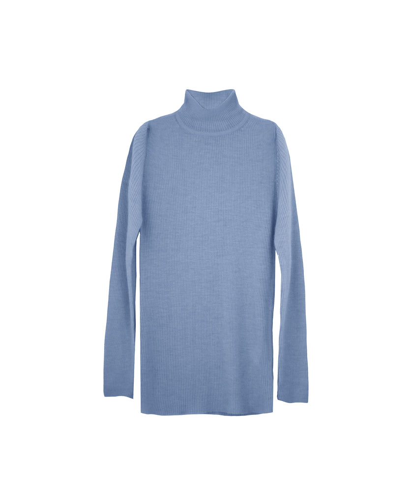 Absolute softest feather weight fine rib cashmere turtleneck in lavanda