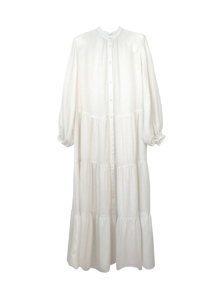 Woven airy cashmere prairie dress in ivory