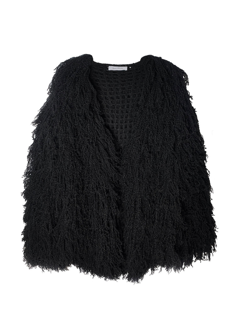 Signature cloud cashmere silk furry cardigan in black