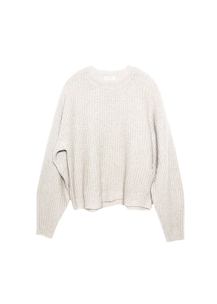 Ivory cashmere and silk crew neck cloud sweater