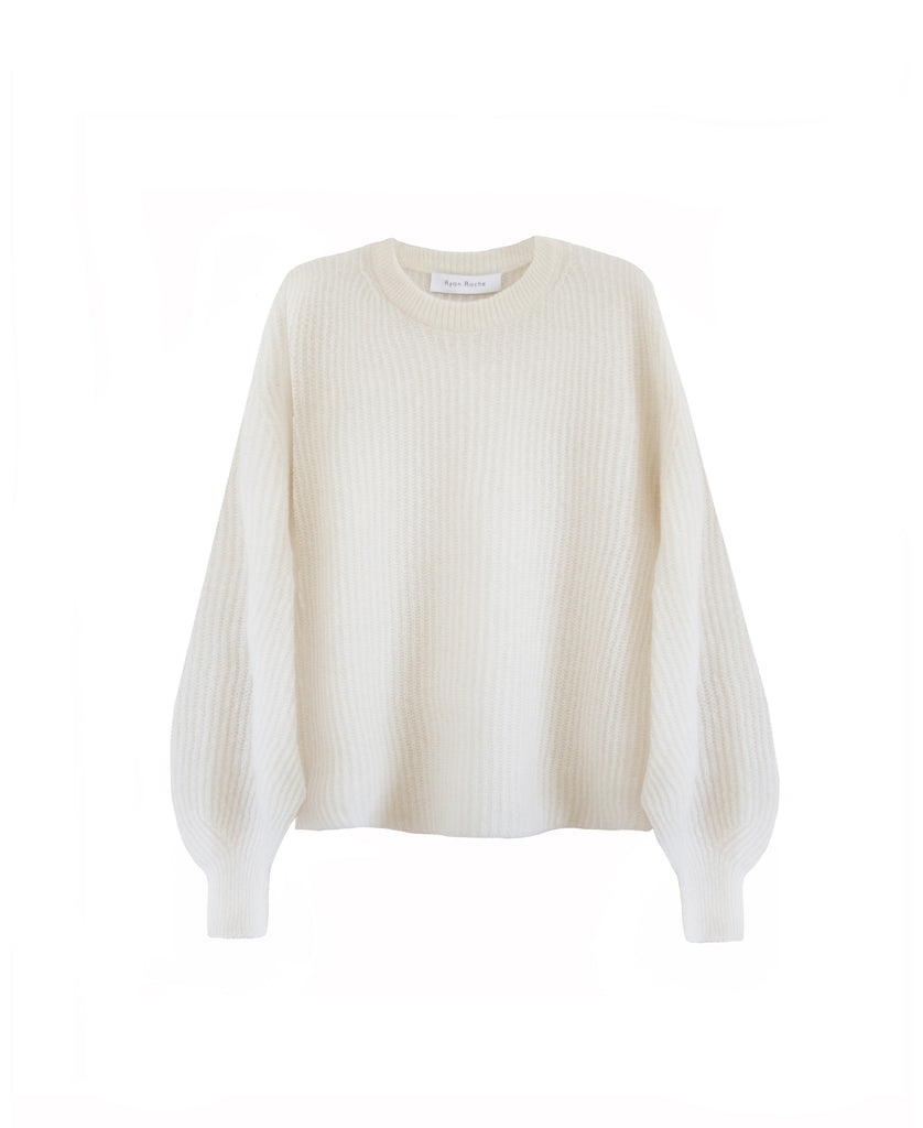 Airy cashmere silk crew neck sweater in snow white