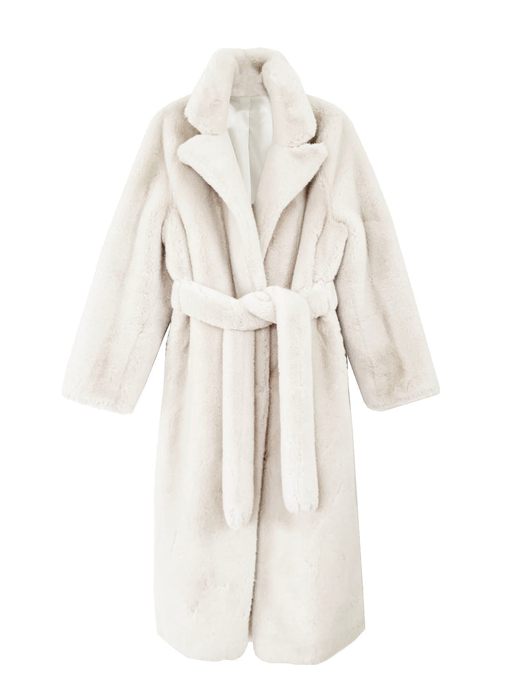 Dreamy white 100% merino wool furry coat
