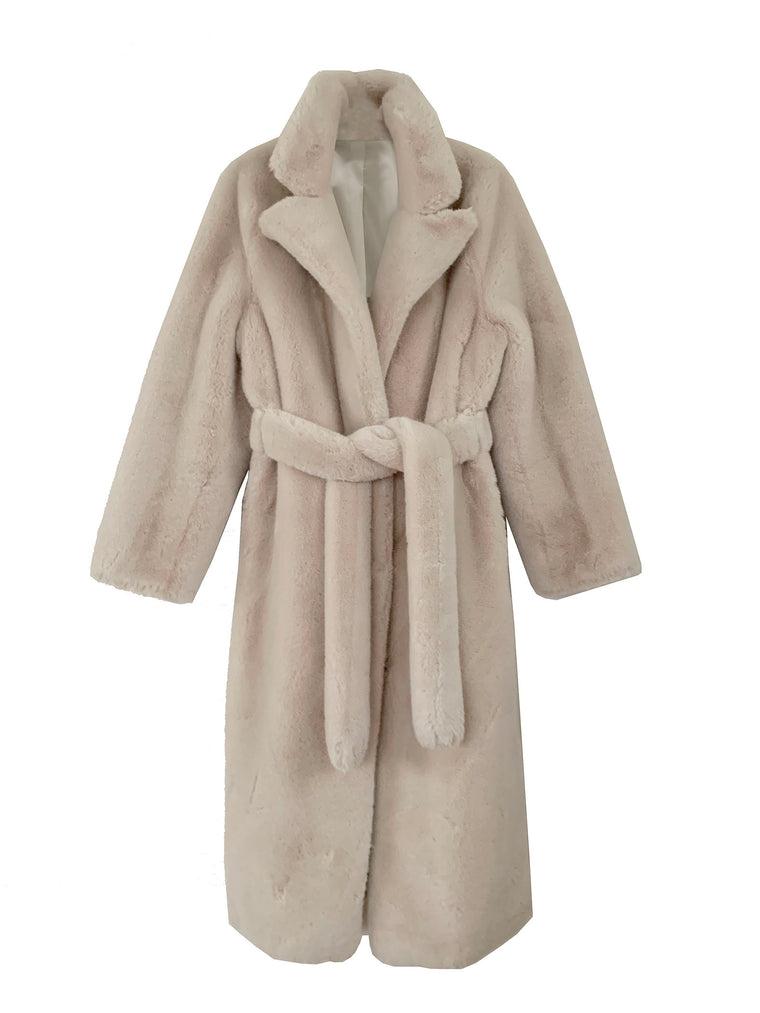 Dreamy pale pink bisque 100% merino wool furry coat