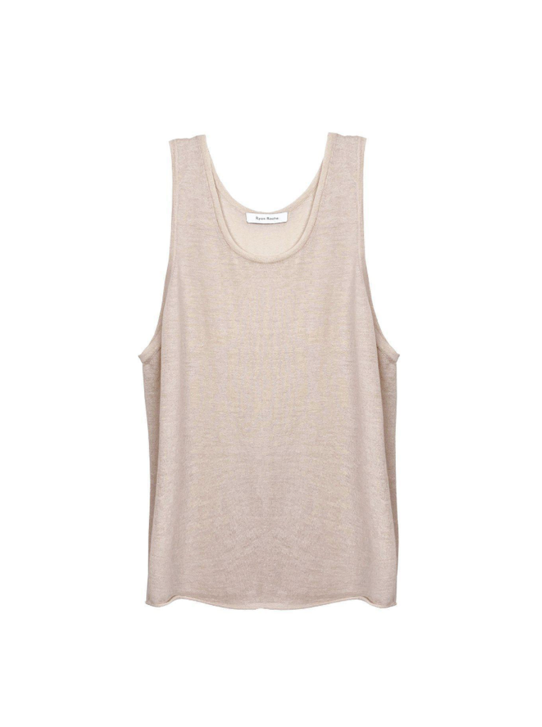 Cashmere featherweight tank in champagne