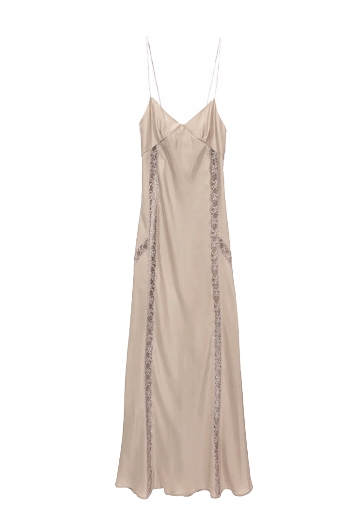 Silk charmeuse 90's bias slip dress with lace inserts in champagne