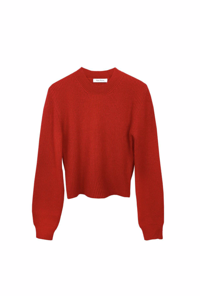 Luxurious cashmere silk ribbed cropped crewneck sweater in vibrant red