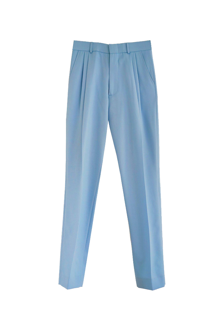 French blue wool gabardine pleated trousers