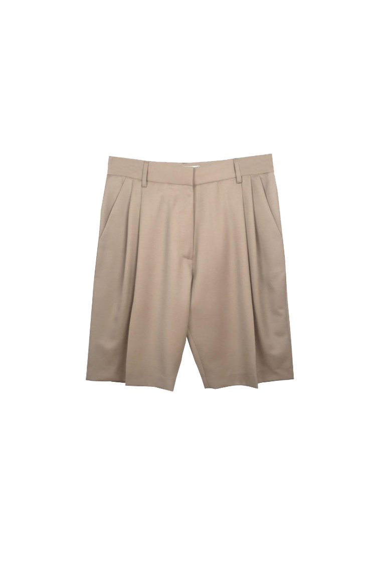 Wool gabardine tailored boy short in latte