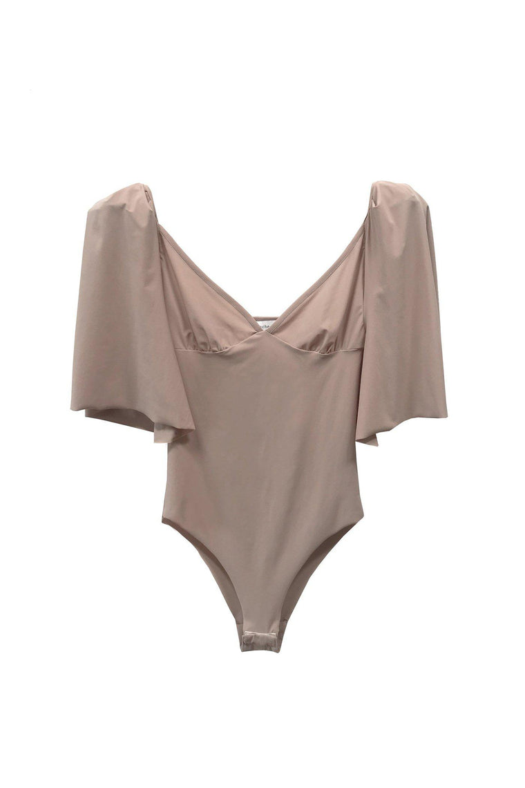 Ballet bodysuit with short puff sleeves