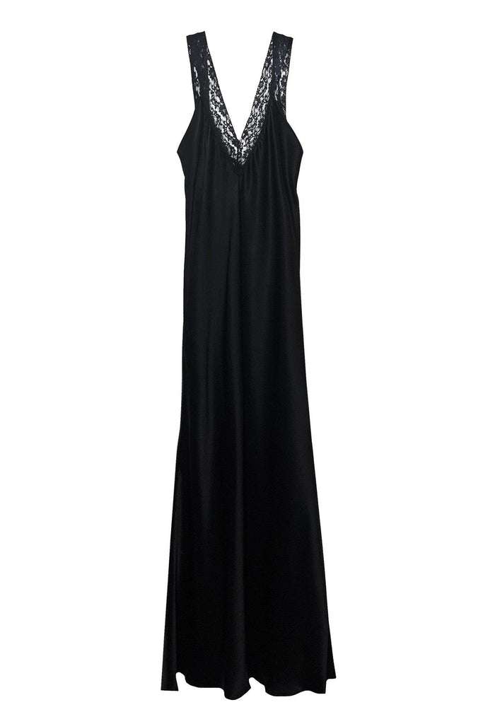 RYAN ROCHE Bias-cut silk slip dress with floral lace straps.