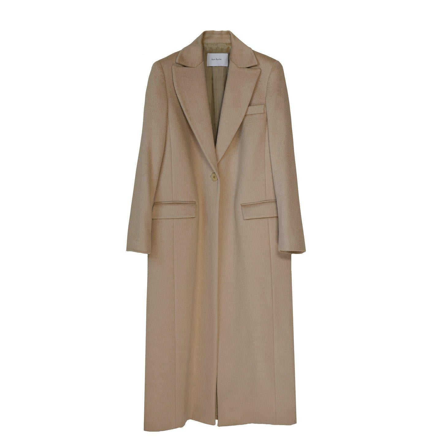 RYAN ROCHE CAMEL CASHMERE SILK LINED TAILORED LONG COAT