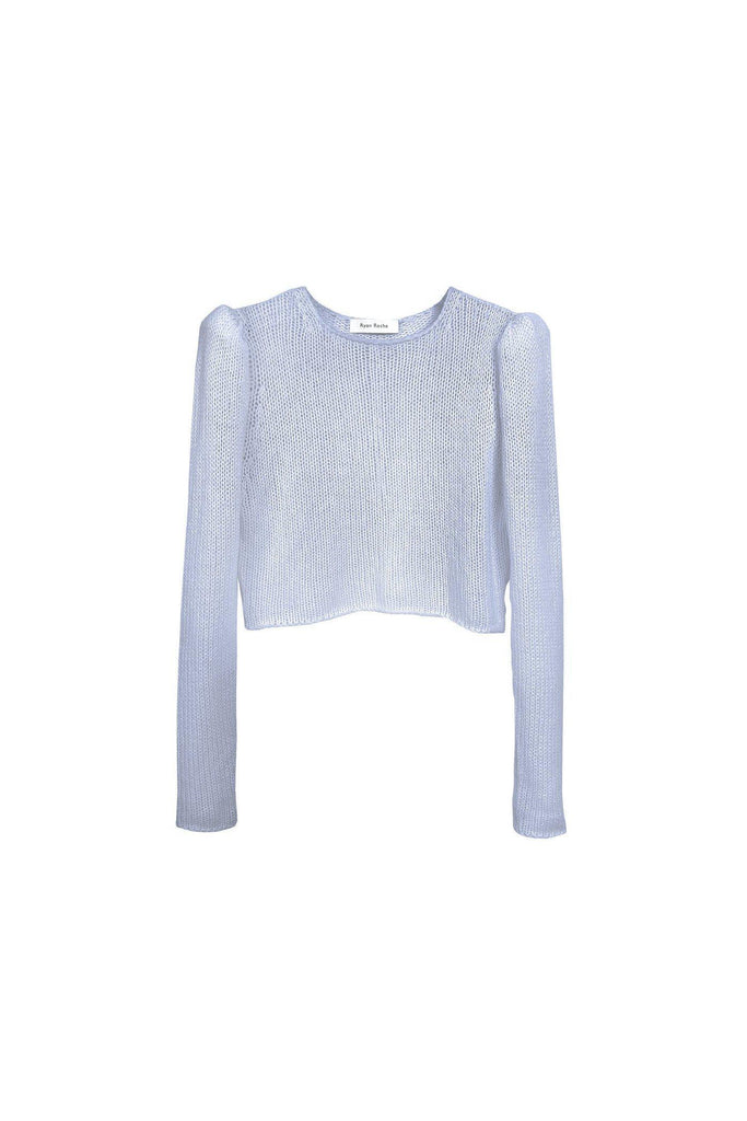 RYAN ROCHE Cashmere air puff sleeve crop sweater